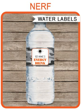Nerf Party Water Bottle Labels Template | Editable & Printable