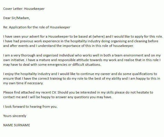 Housekeeping Cover Letter Sample | The Best Letter Sample