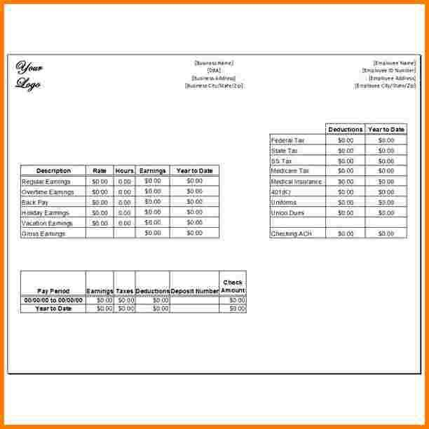 7 pay stub template free | Receipt Templates