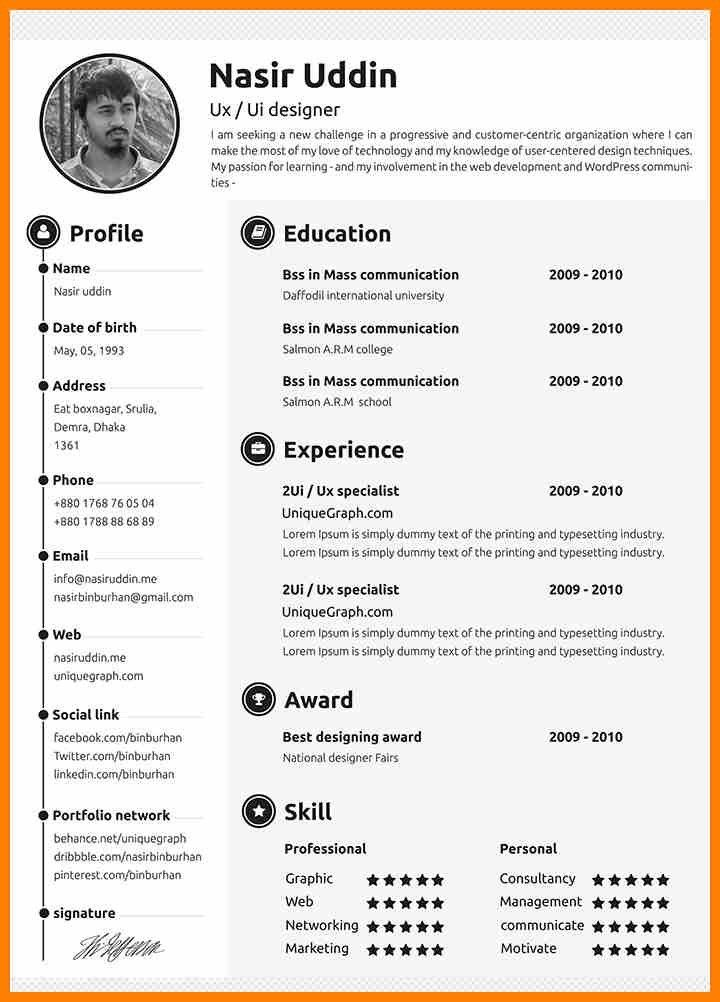 5+ eye catching resume templates | character refence