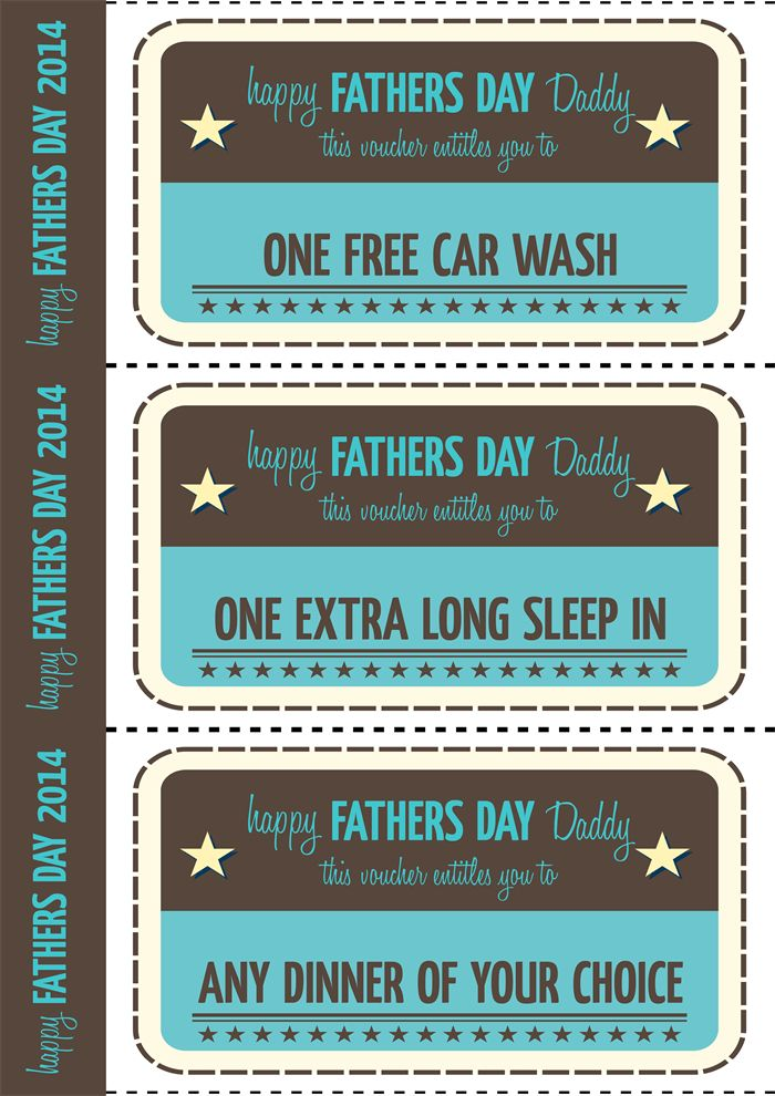 Fathers Day Printable Vouchers - vintage style. | Dee Dub Designs ...