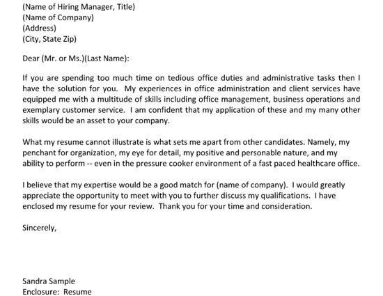 Administrative Assistant Department Of Health Cover Letter