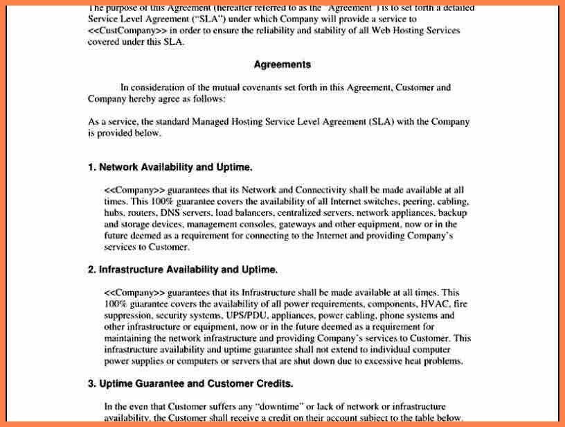 3+ sample service level agreement template | Purchase Agreement Group