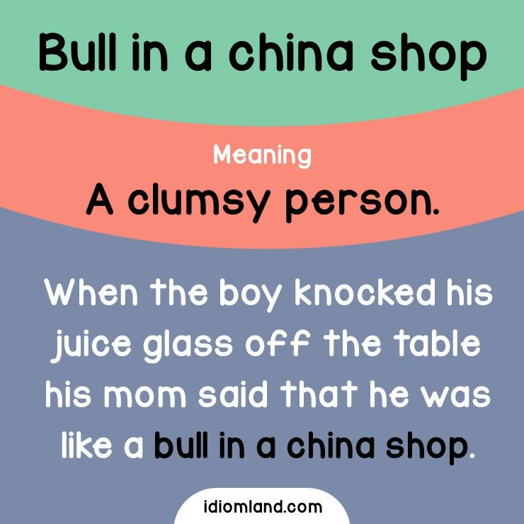 Idiom of the day: Bull in a china shop. Meaning: A clumsy person ...