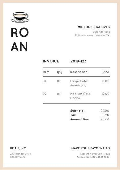 Bisque Coffee Mug Invoice Letterhead - Templates by Canva