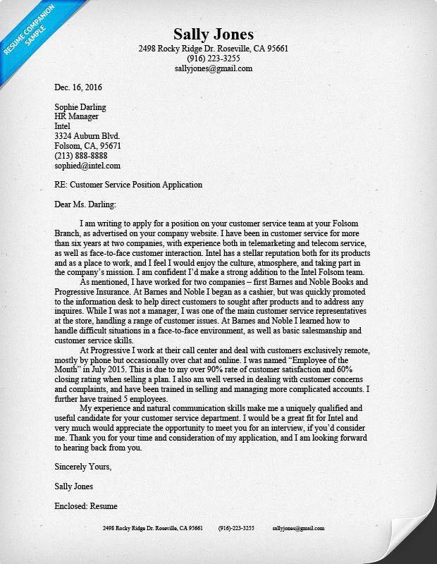 Customer Service Cover Letter Sample | Resume Companion