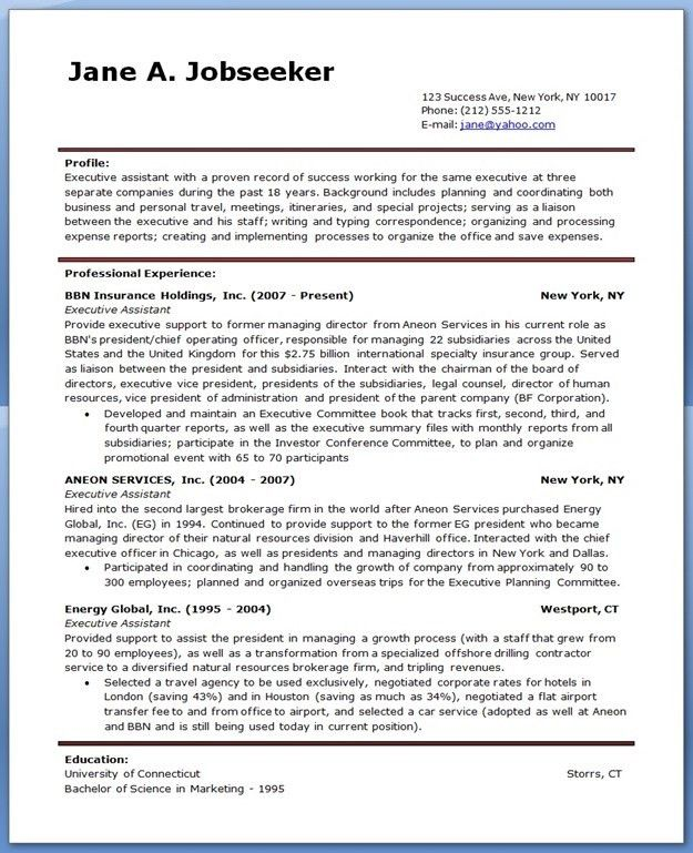 Executive Assistant Resume Examples Example 1 | ilivearticles.info