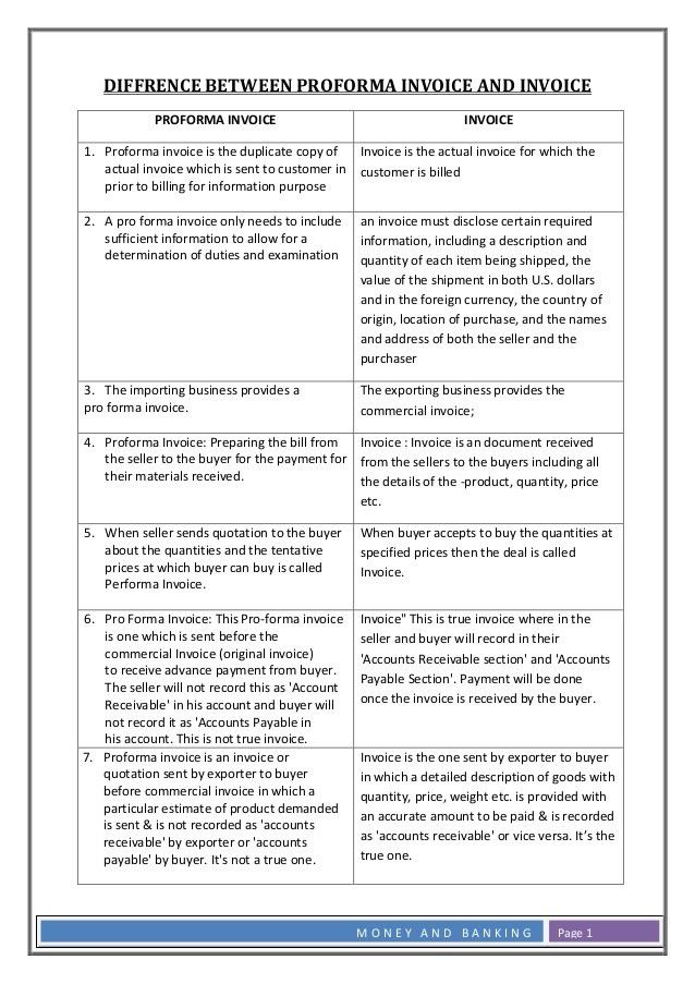 Difference Proforma Commercial Invoice. Money And Banking Page 1 ...