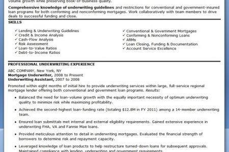 2. underwriter resume sample. underwriter resume. mortgage ...