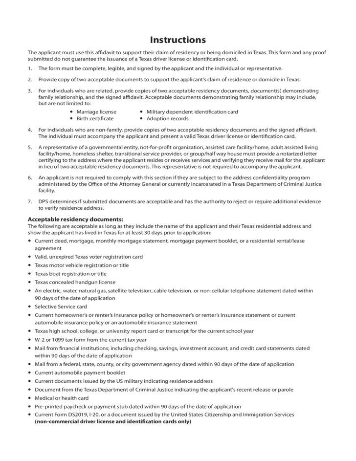 Sample Texas Residency Affidavit Free Download