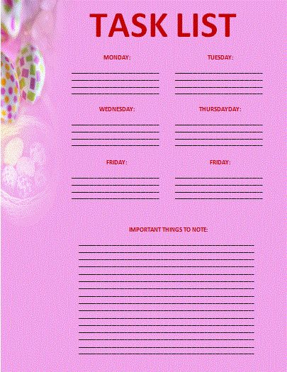 Task List Template | Professional Word Templates