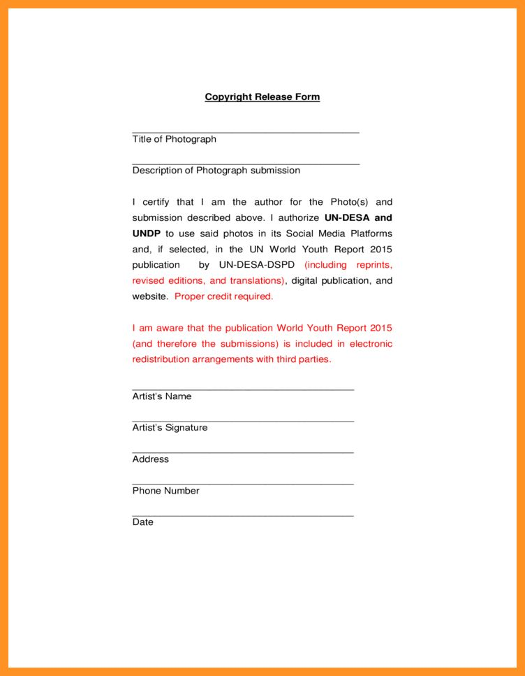 copyright release form for pictures | bio letter format