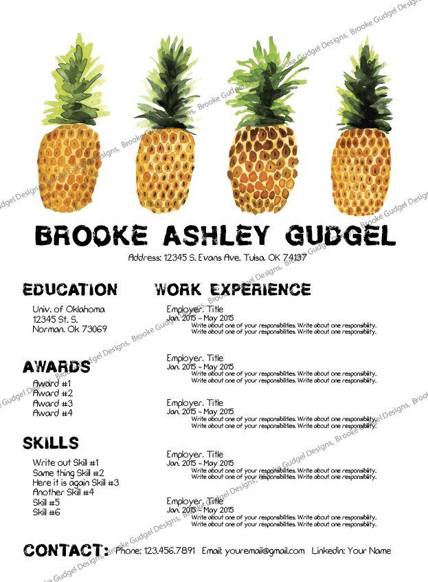 Pineapple Resume, Conact: brookegudgel@gmail.com #sorority #rush ...