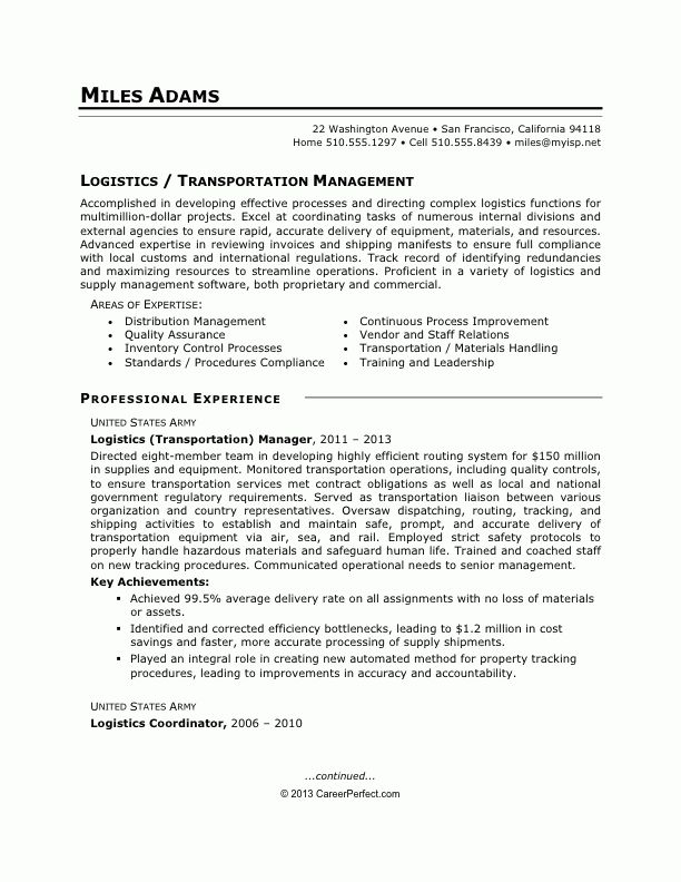 Career Perfect Logistics Resume Sample - Writing Resume Sample ...
