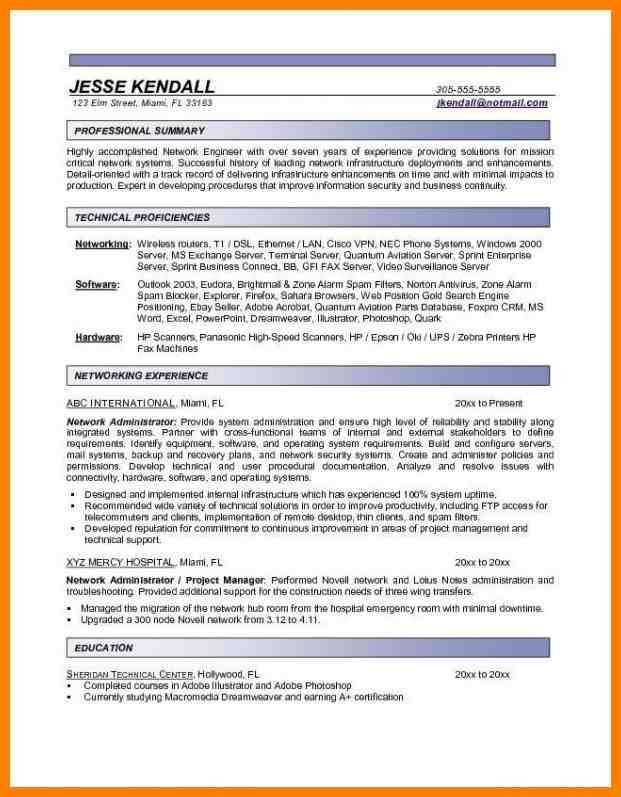 entry level network administrator resumes