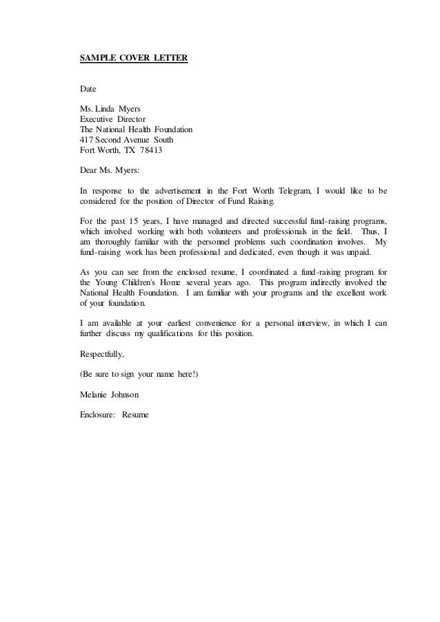 Cover letter closing salutation