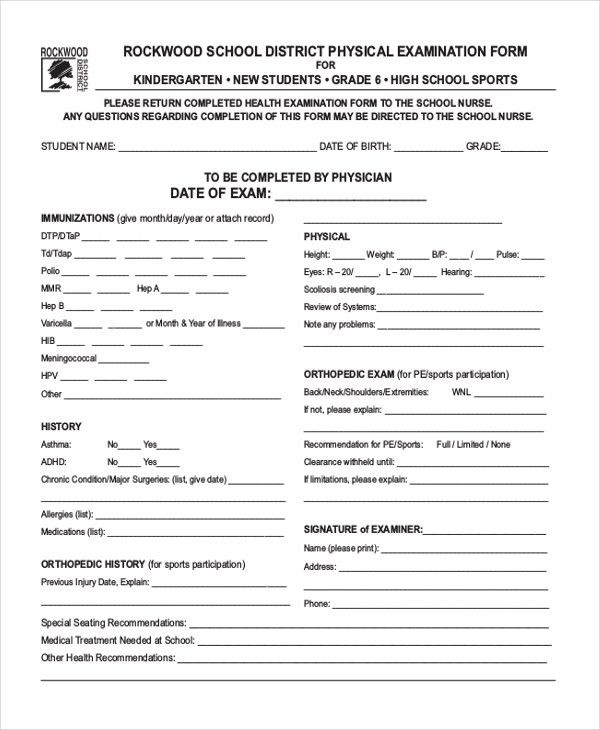 Sample Health Examination Form - 9+ Free Documents in PDF