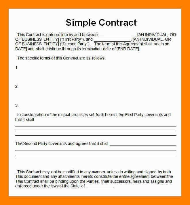 Best Simple Contract Agreement Photos - Best Resume Examples for ...