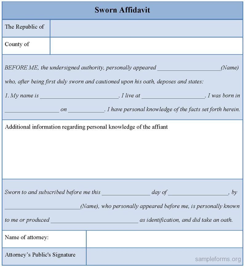33 Printable Affidavit Form Template Examples : Thogati