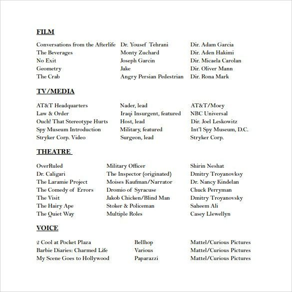 Acting Resume Template. 25 Best Ideas About Acting Resume Template ...