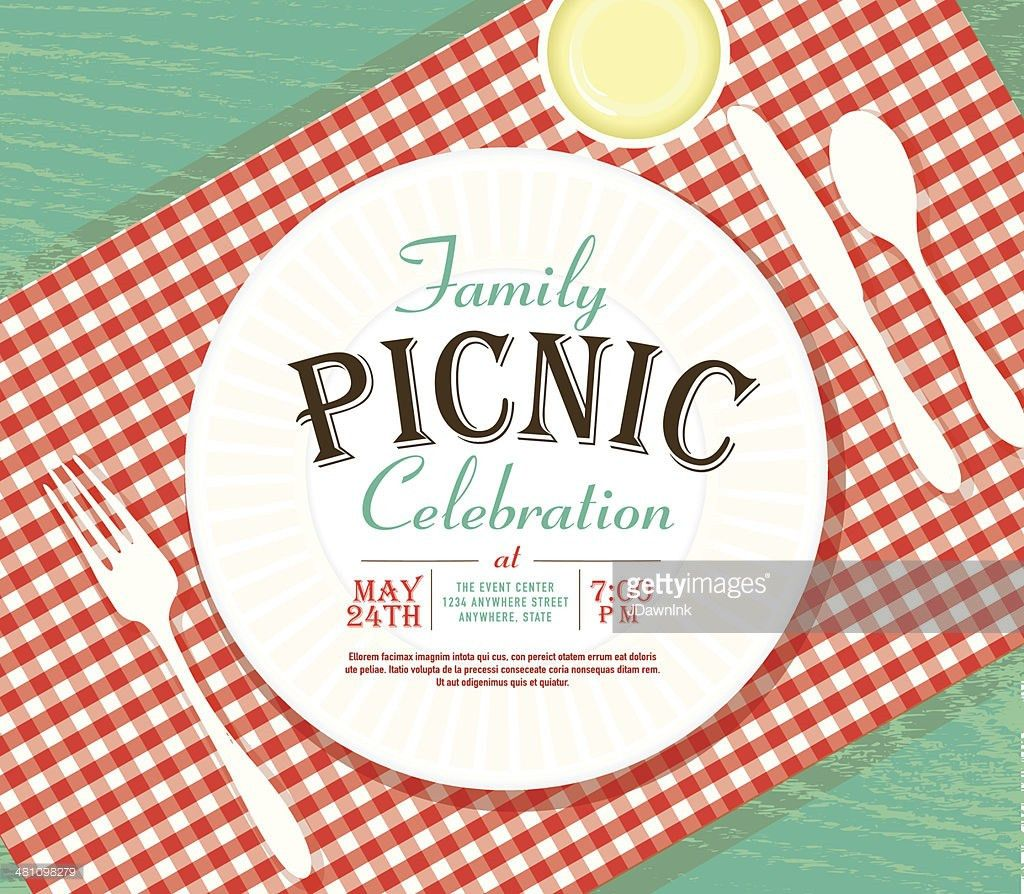 Picnic Invitation Design Template On Teal Wood Vector Art | Getty ...