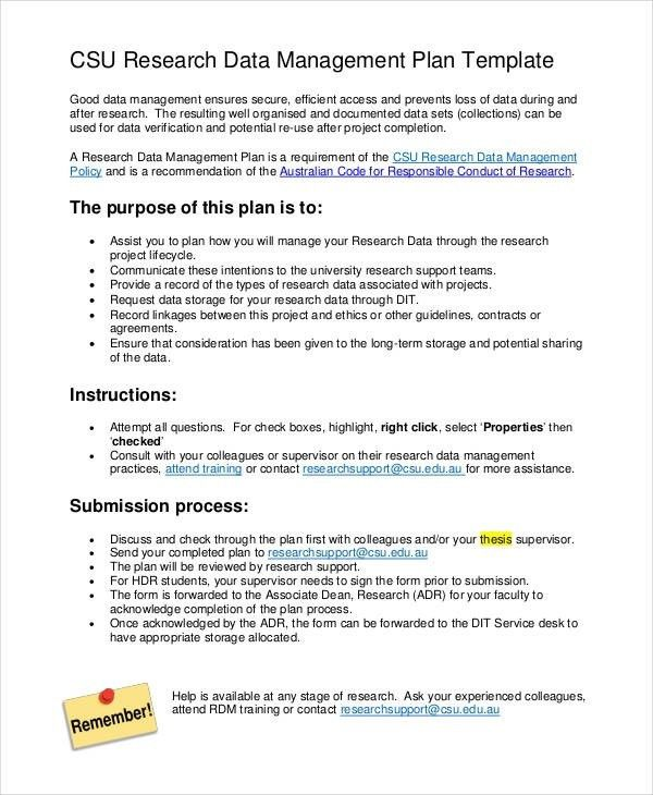 7+ Data Management Plan Templates -Free Sample, Example Format ...