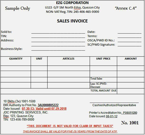 difference between sales invoice and official receipt bir ...