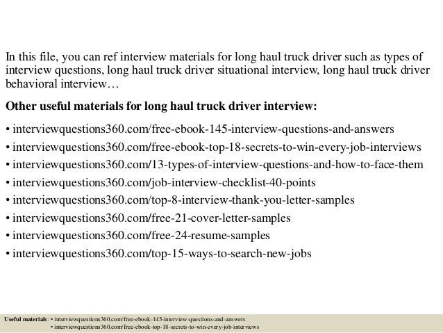 Long Haul Truck Driver Cover Letter