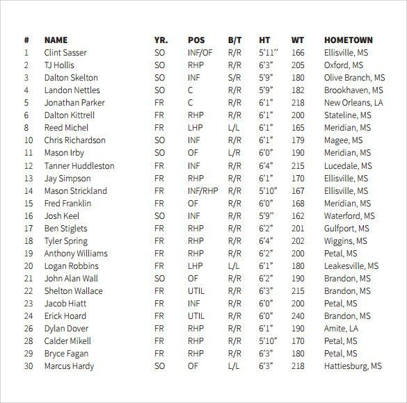 Sample Baseball Roster Template. File Type: Layered Tiff (Works .