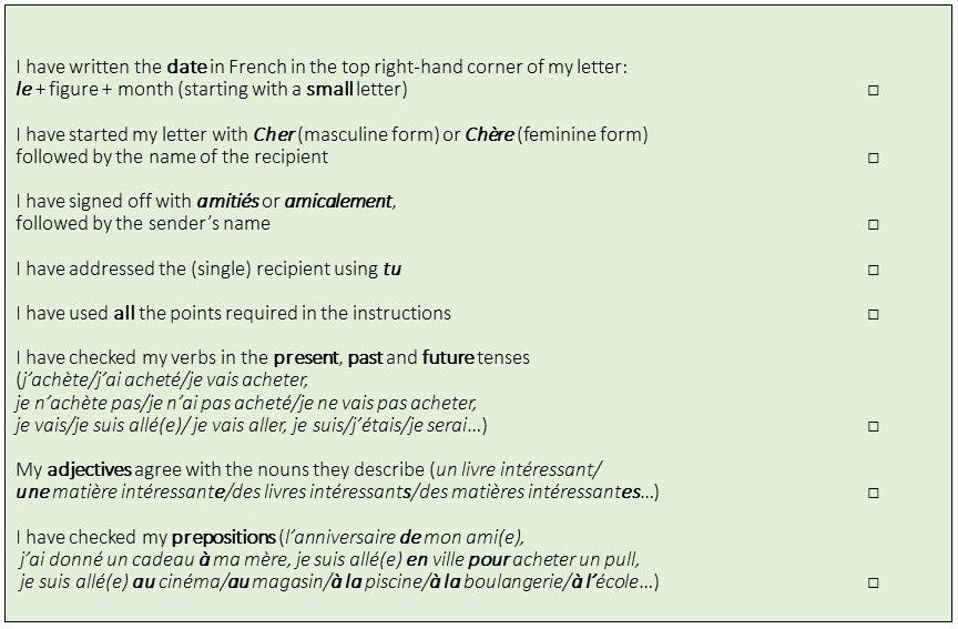 Self-assessment check lists for the French Junior Certificate ...