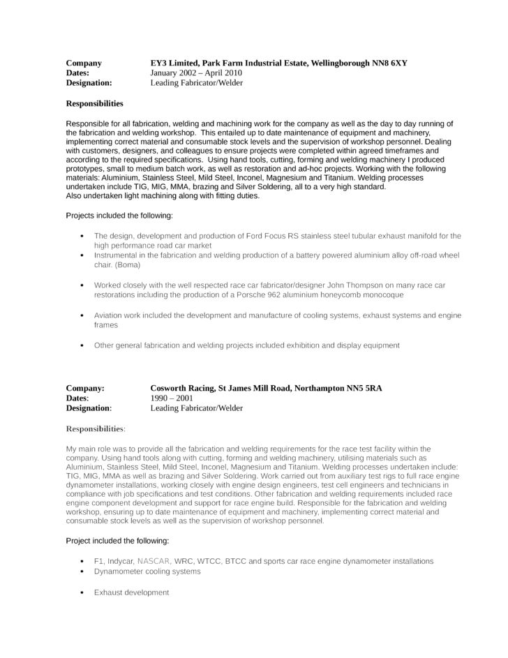 Modern Welder Fabricator Resume Template | page 3