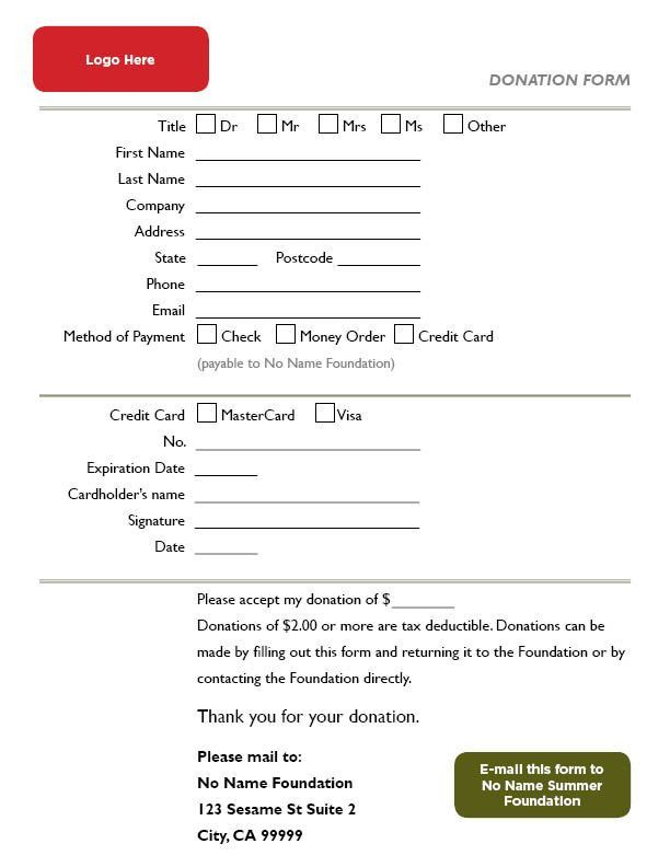 Donation Form Template for InDesign | Katablog