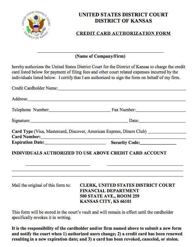 Sample Credit Card Authorization Form. Authorization To Use Credit ...