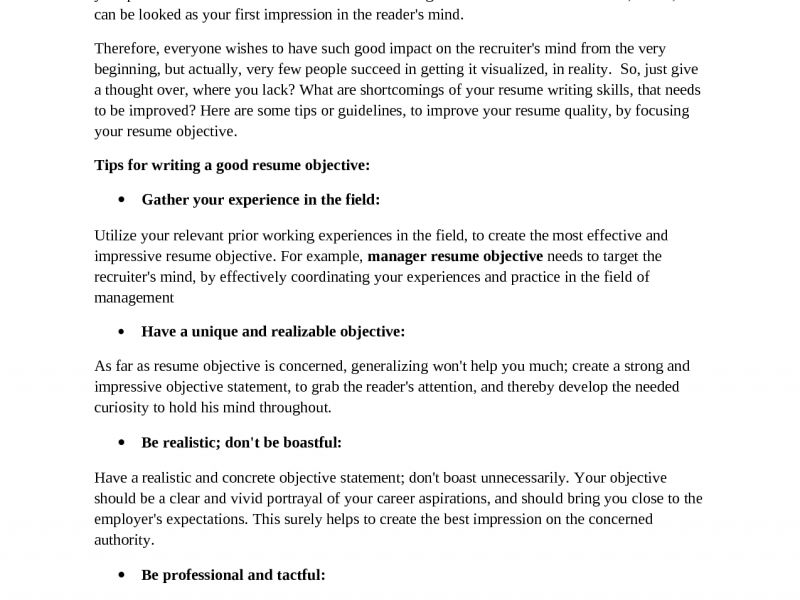 Exclusive Idea Objectives To Put On A Resume 3 Objectives To Put ...