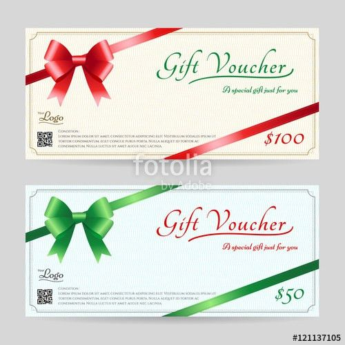 Christmas gift card or gift voucher template with shiny red and ...
