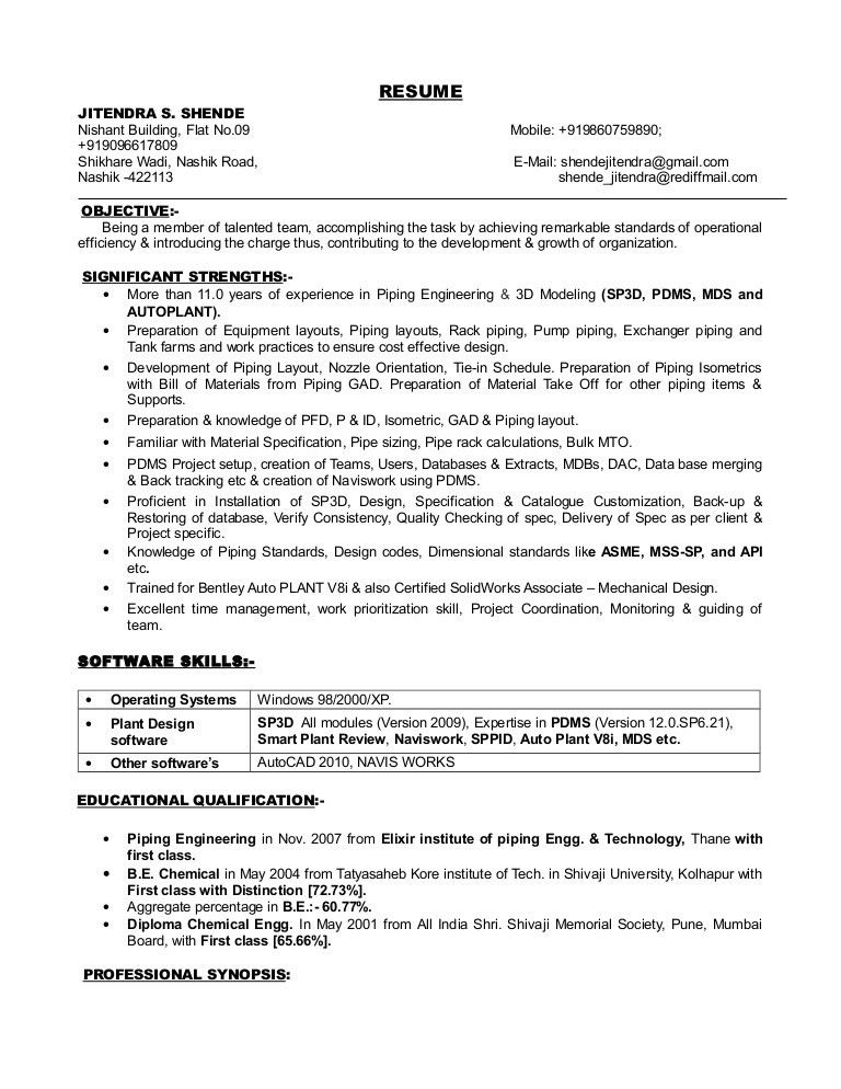 Resume of Jitendra Shende for the post of Piping Engineer
