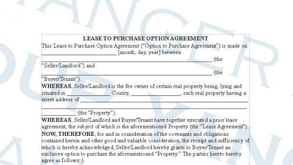 10 Best Images of Option To Purchase Agreement Form - Lease with ...