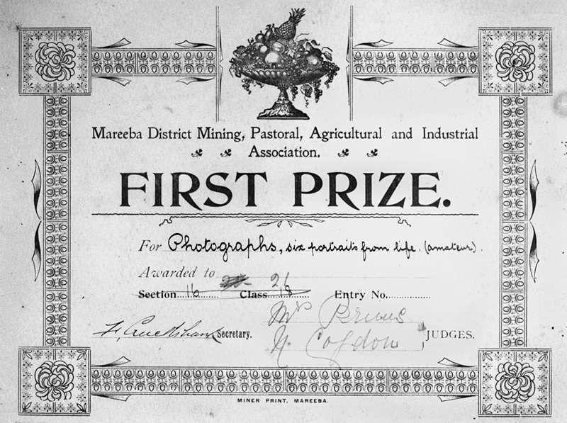 Bonzle: First Prize Certificate awarded to an unidentified amateur ...