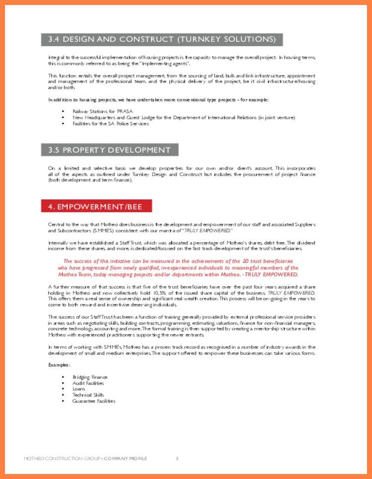 6+ sample of a construction company profile | Company Letterhead