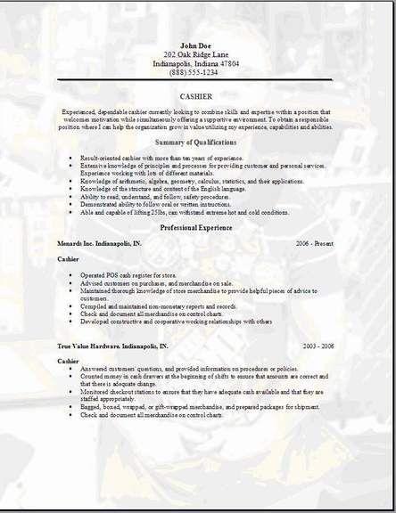 sample cashier resume skills sample resume for cashier job