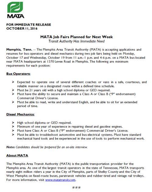 MATA | Job & Career News from the Memphis Public Libraries