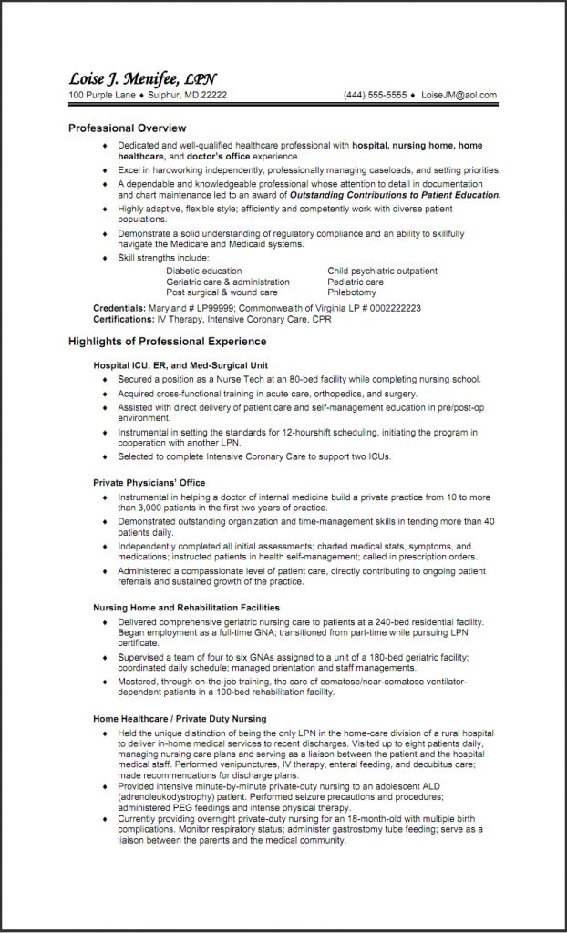 Sample LPN Resume Two Pages 1 | Sample Nursing Resumes