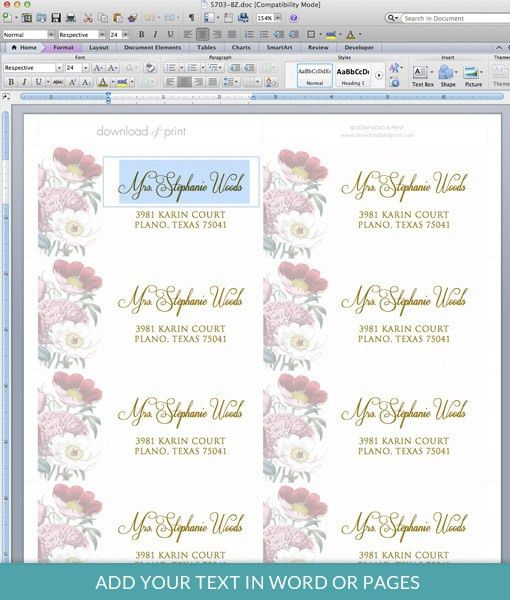 Red Poppy Address Label Template – Download & Print