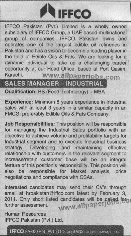 Jobs, Sales Manager job