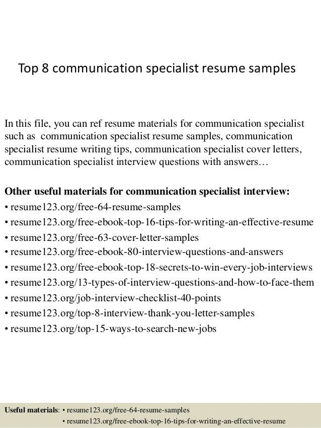 Communications Specialist Resumes  Communications Specialist Resume