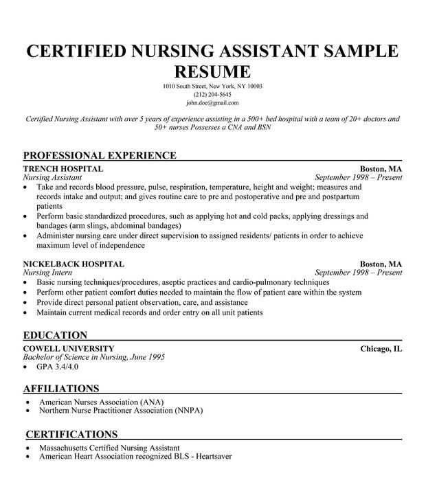 sample cna resume objective summary best nurse template for ...