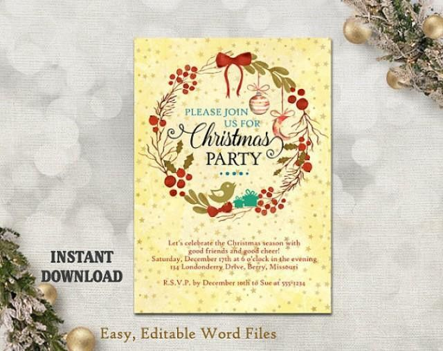 Printable Christmas Party Invitation Template - Wreath - Holiday ...