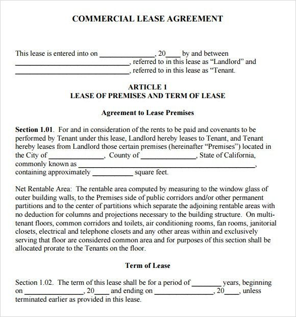6+ Commercial Lease Agreement Templates - Word Excel PDF Templates