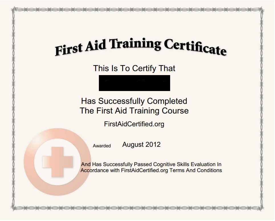 28+ First Aid Training Certificate Template | Certificates First ...
