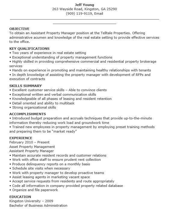 Property Management Resume. Property Management Real Estate ...